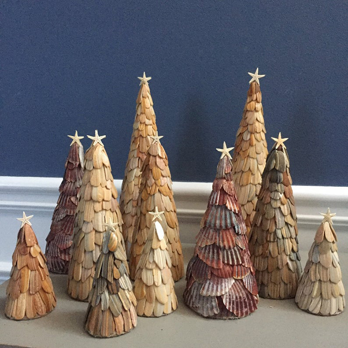 seashell christmas trees by collycolsshop