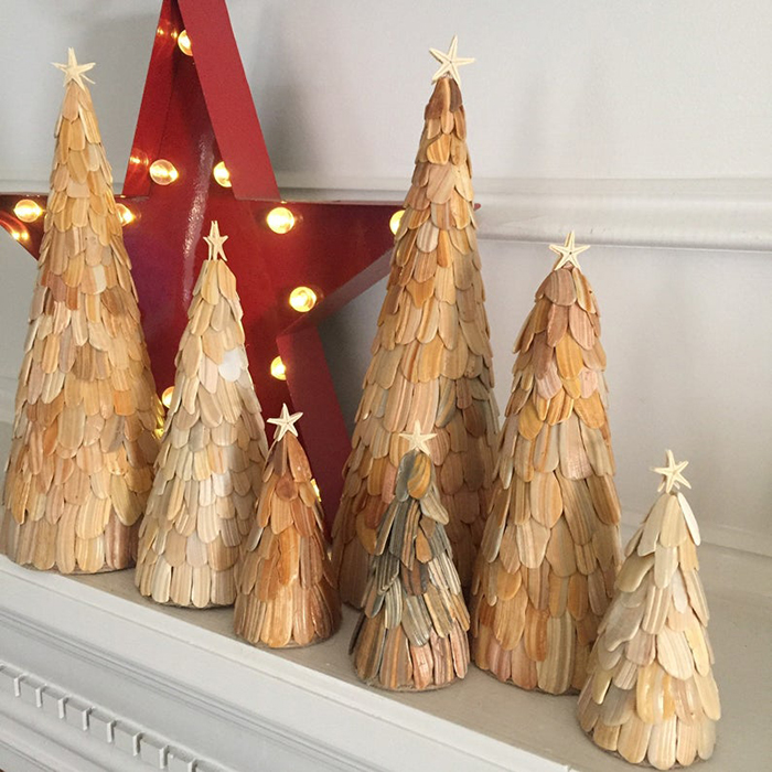 seashell christmas trees set by collycolsshop