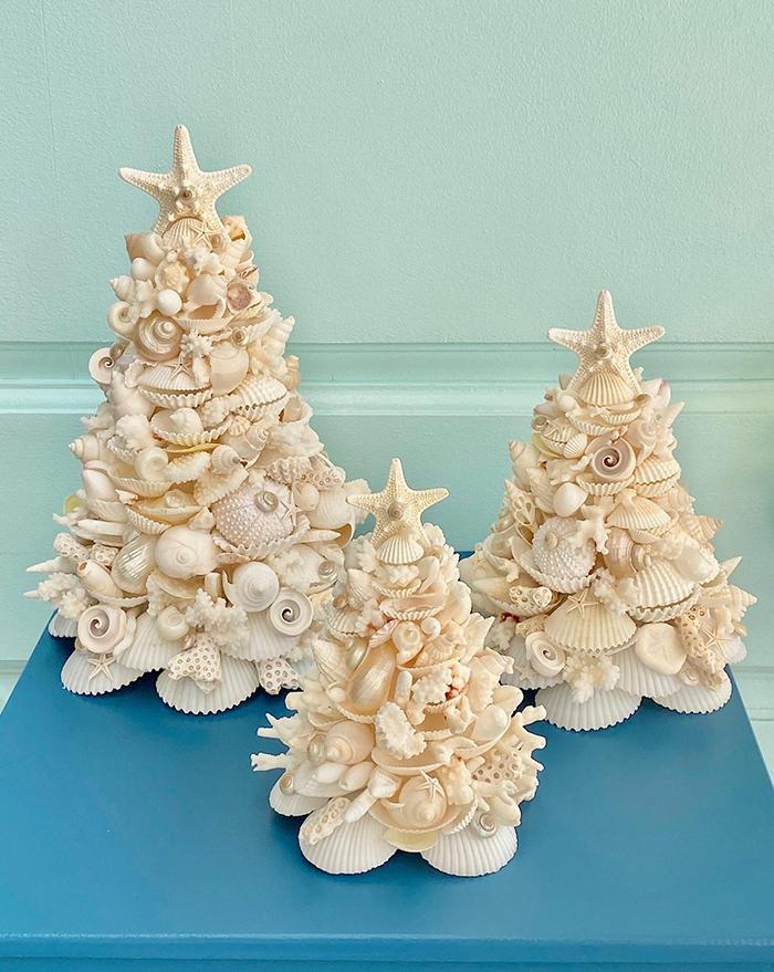 seashell christmas trees set by kp seashell designs