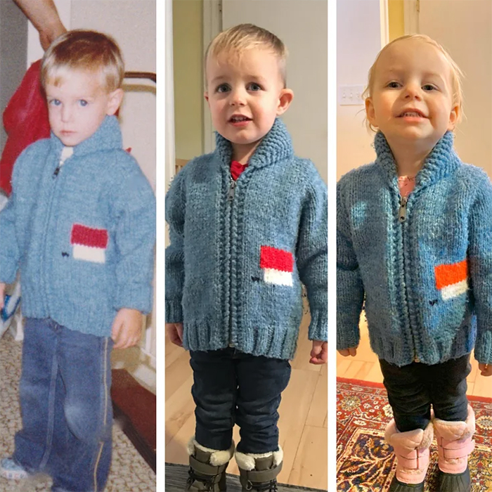 son and daughter wear dad sweater