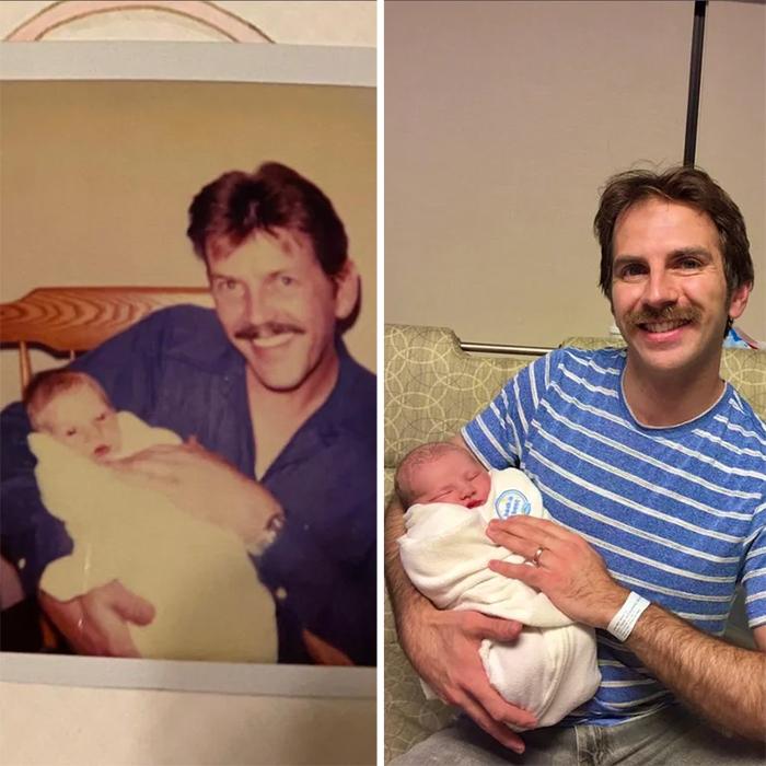 son recreates dad piic with newborn son