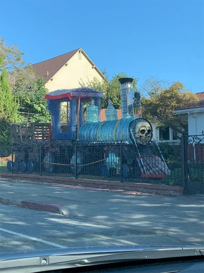 spooky train made of plastic bottles