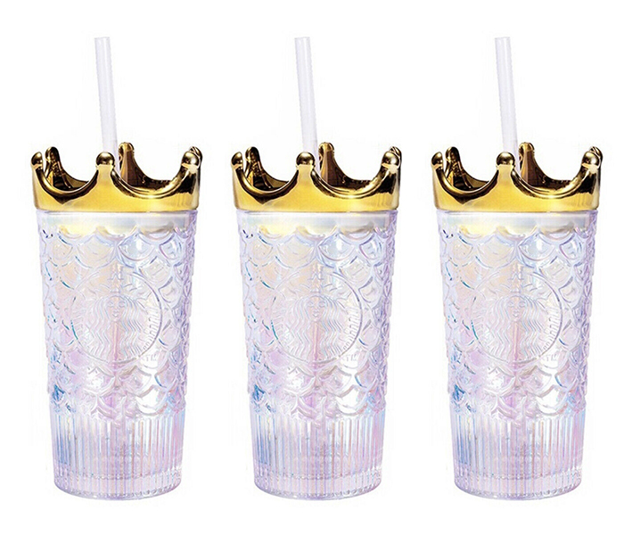 starbucks glass tumbler with gold crown
