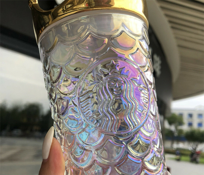 starbucks iridescent glass tumbler with gold crown