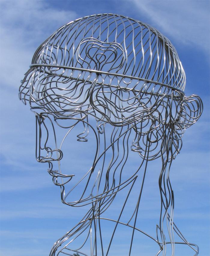 steel wire sculptures woman head