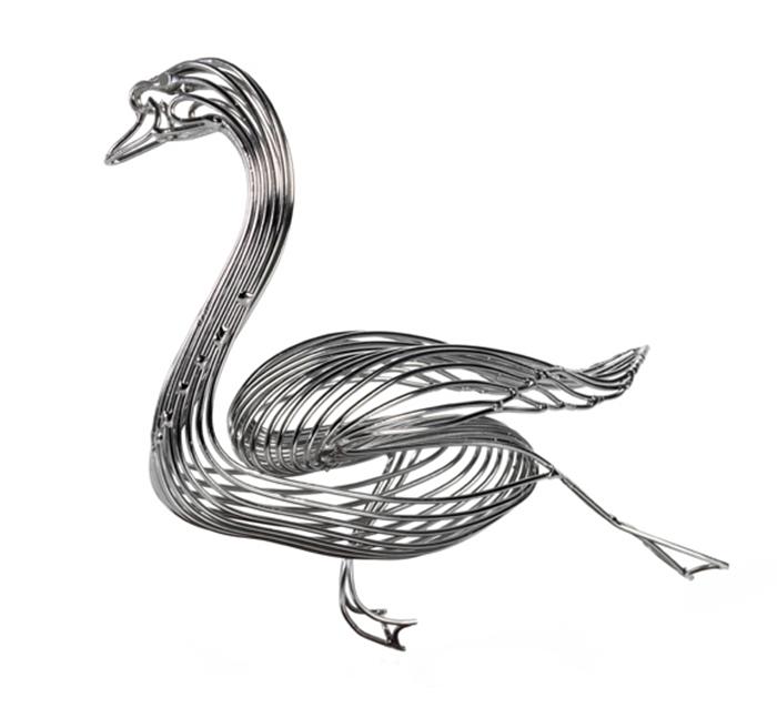 swan steel wire sculptures