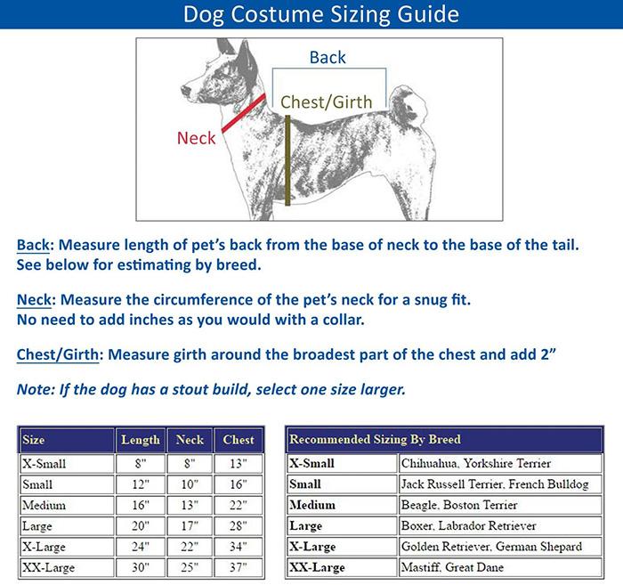 tarantula dog costume size guide