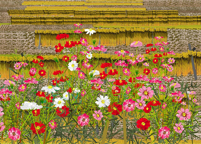 tatsuo horiuchi blooming in the reaped rice field