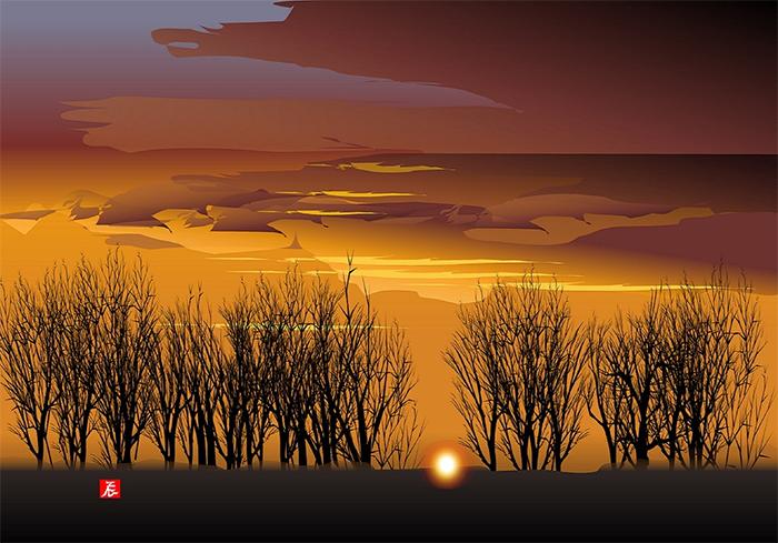 tatsuo horiuchi rising sun among the woods