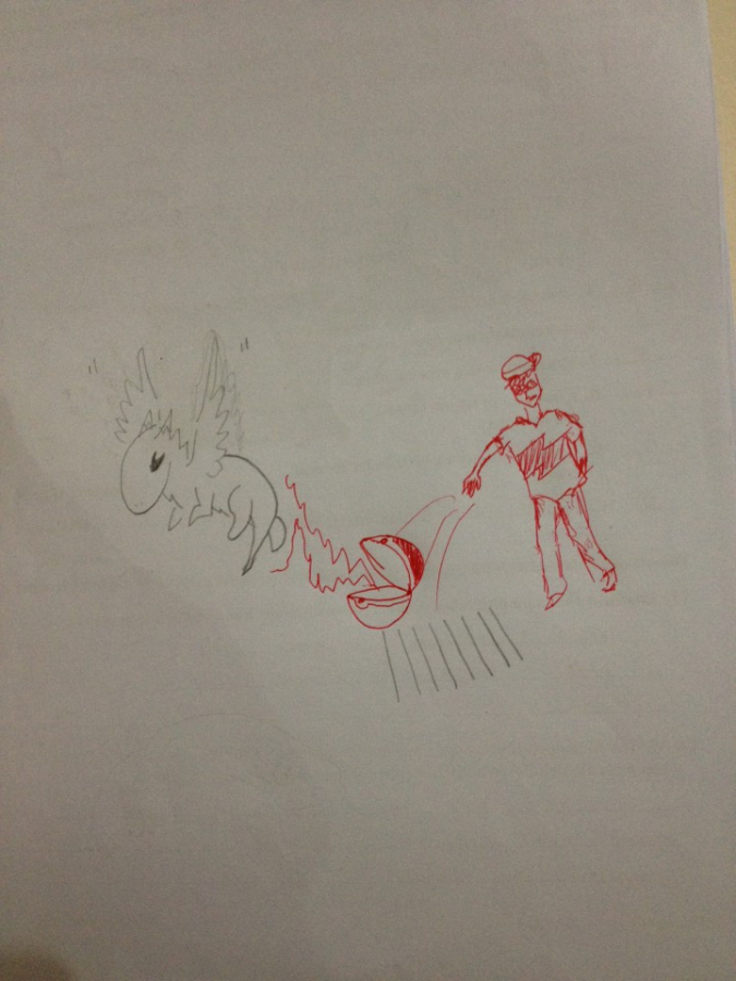 teacher doodles a boy throwing open a pokeball to complete student's drawing