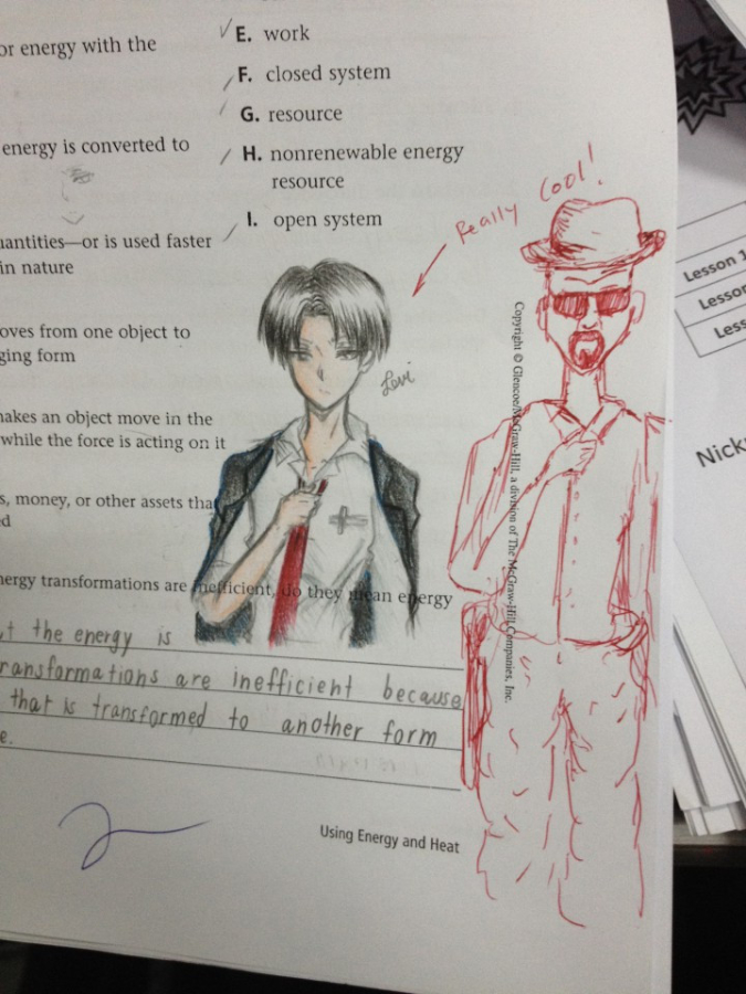 teacher doodles and compliments student's drawing