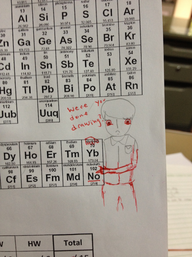 teacher doodles on periodic table