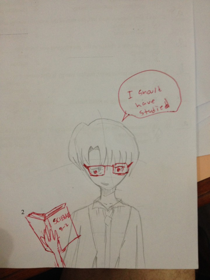 teacher doodles over student's drawing to make the anime-style drawing look smarter