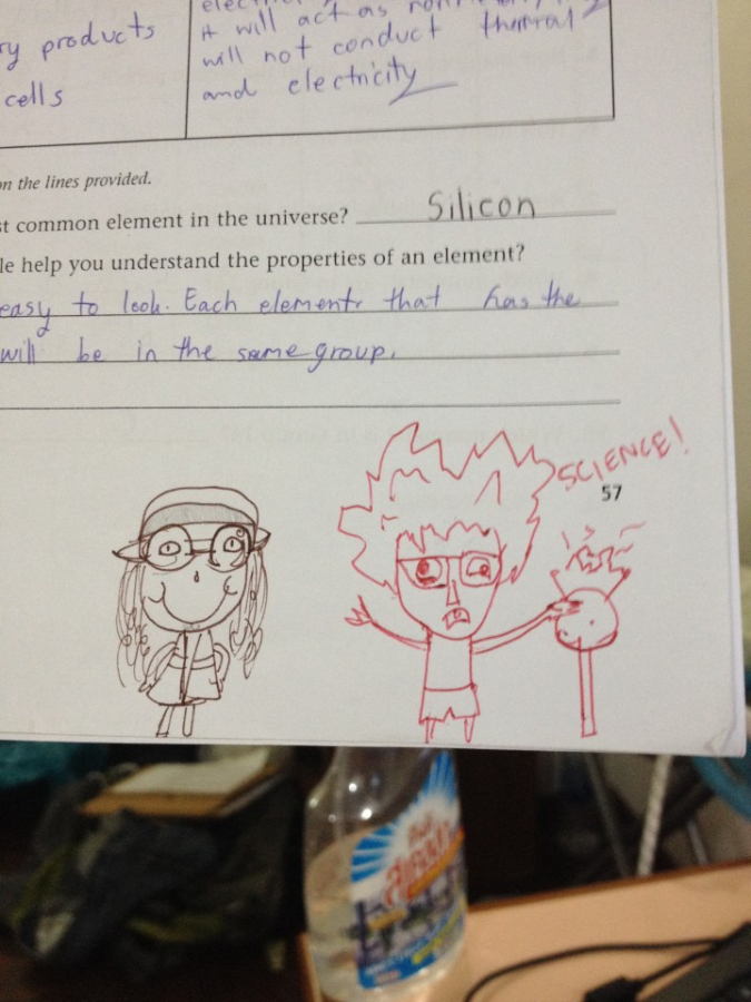 teacher doodles quirky character next to student's equally quirky drawing