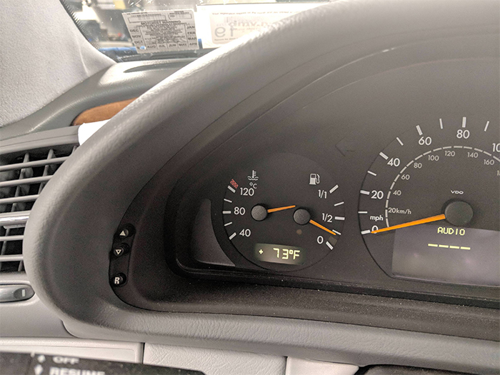 temperature gauge is reading full tank