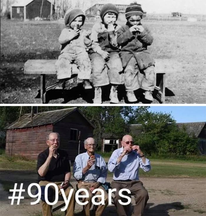 three brothers pic ninety years apart