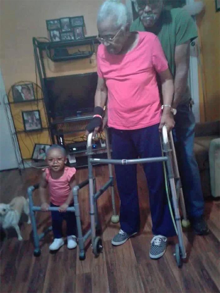 toddler dresses up as her grandma