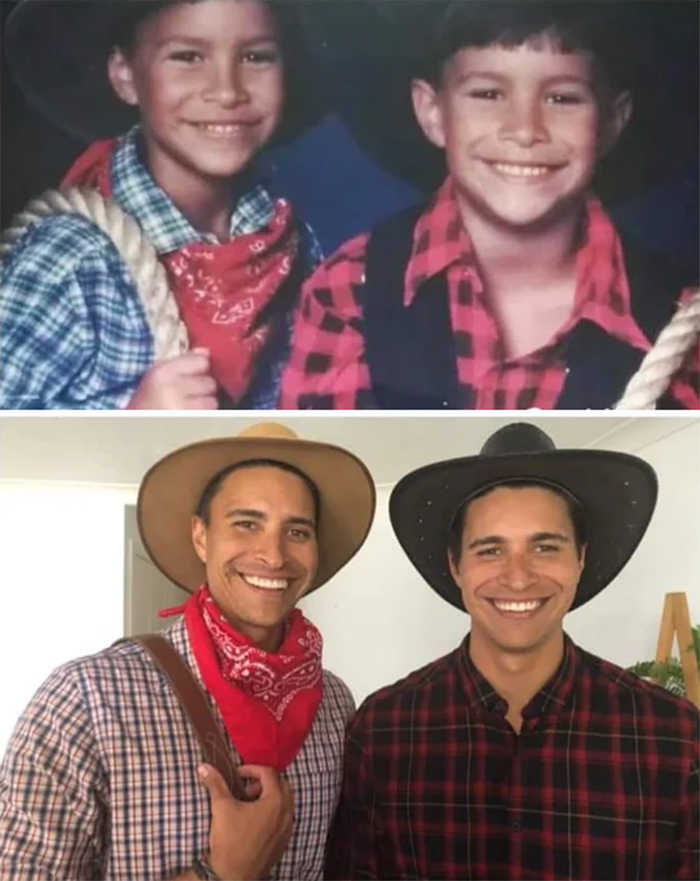 twin brothers in cowboy suits