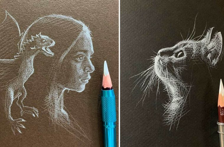 white pencil art