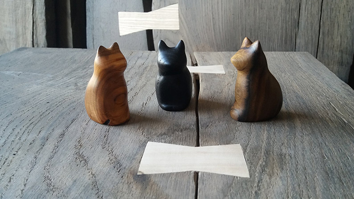 wooden cat figurines by doooba