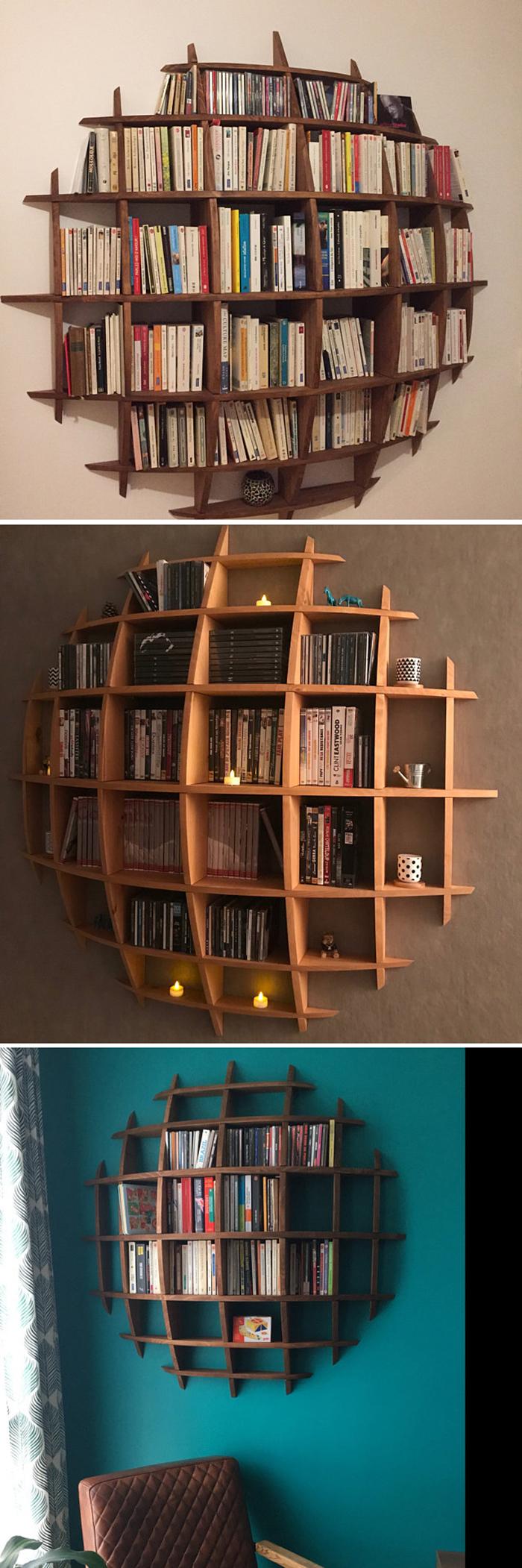 3d sphere bookshelf sinking illusion