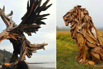 Driftwood animal sculptures