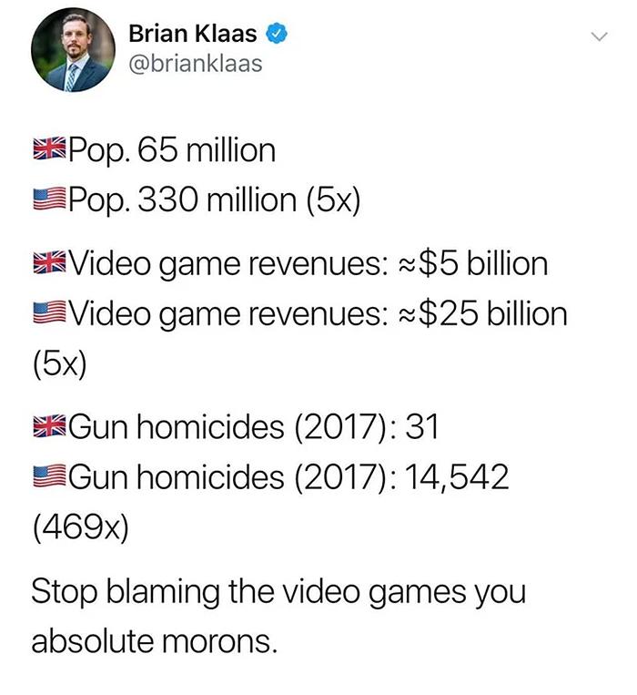 america gun homicides blamed on video games
