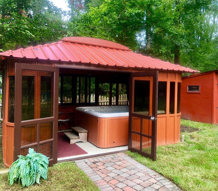 aspen hot tub gazebo interior space