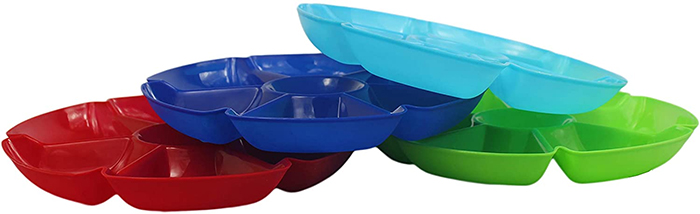 assorted colors 7 section divided plate plastic