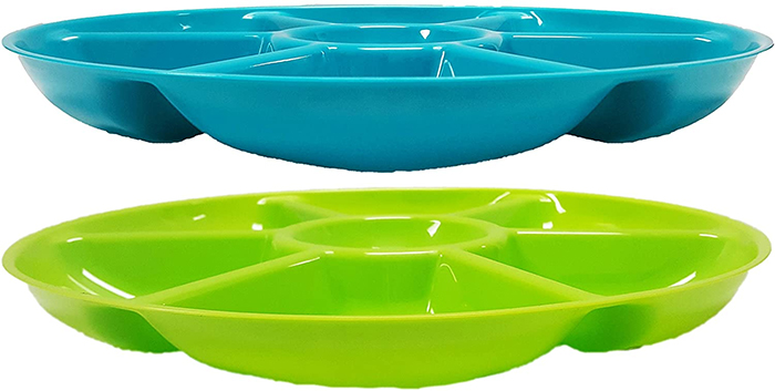 assorted colors 7 section divided plate