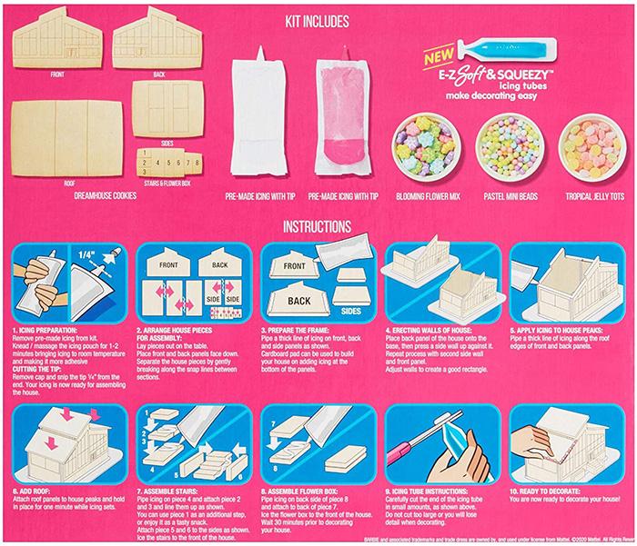 barbie cookie dreamhouse packaging back