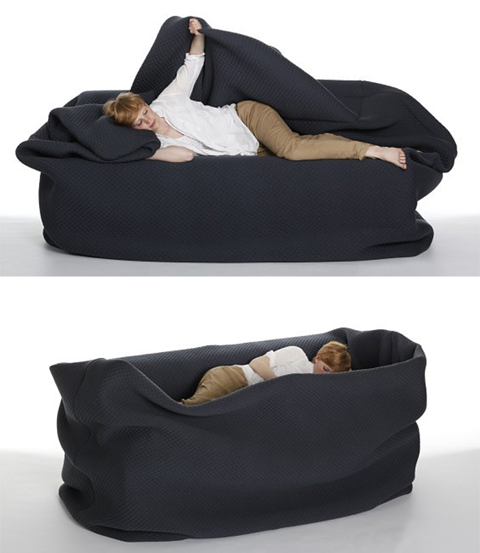bean bag bed with adjustable textile cover