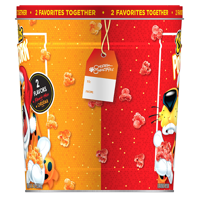 cheetos popcorn tin with gift tag