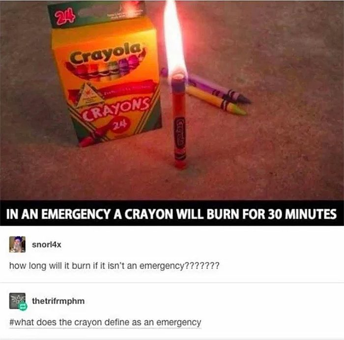 crayon burn in emergency