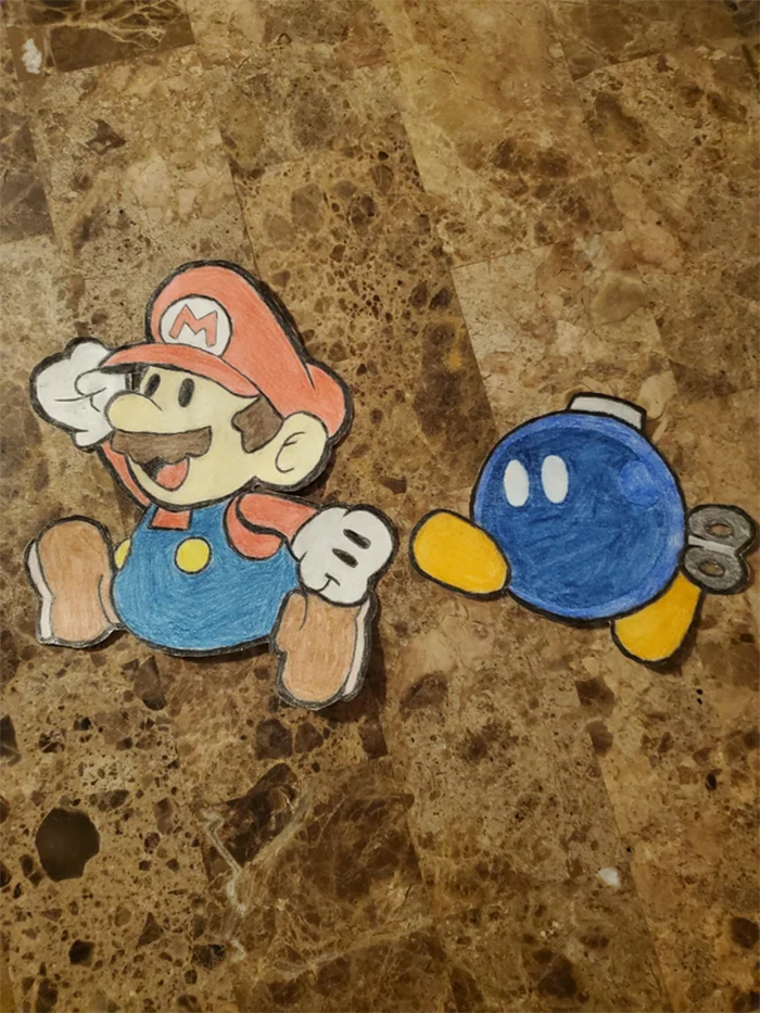 creative father draws super mario and bobby