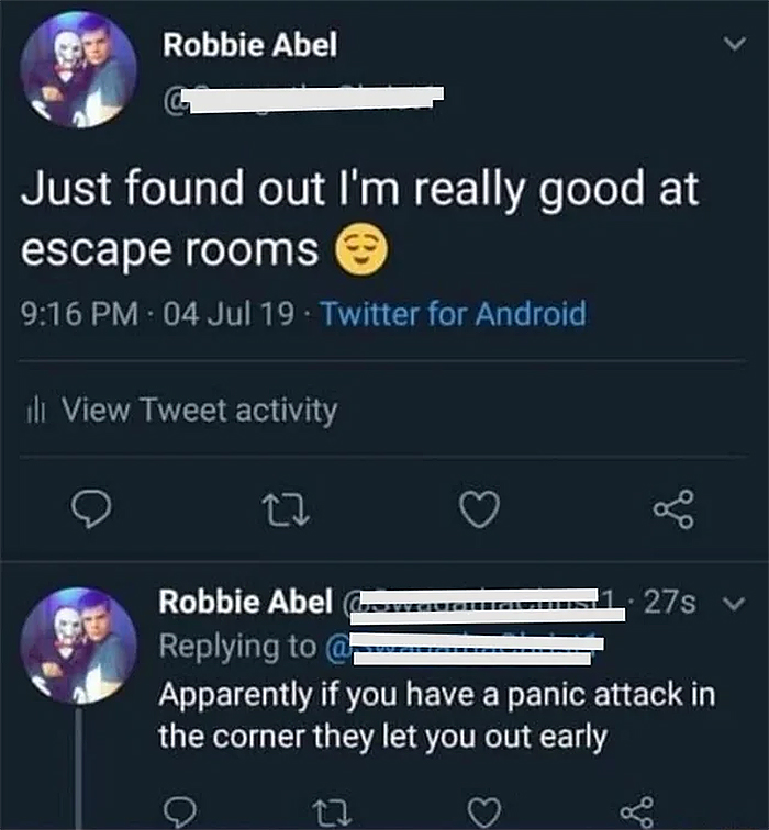 funny honest response good at escape rooms