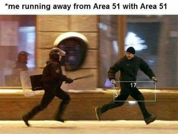 funny pun running away from area 51
