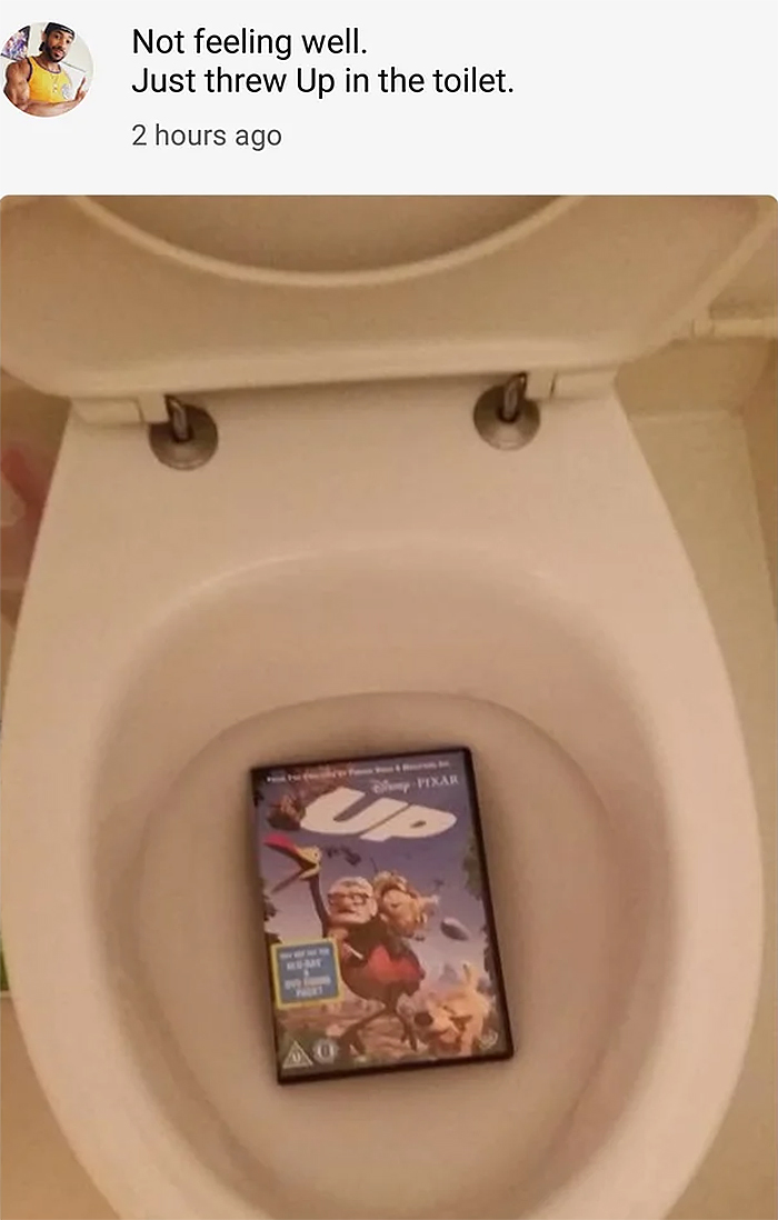 funny pun threw up in the toilet