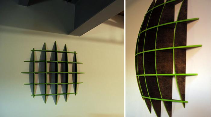 geometric circular wall-mounted shelf