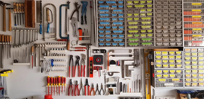 granddad shed organized color coded tools