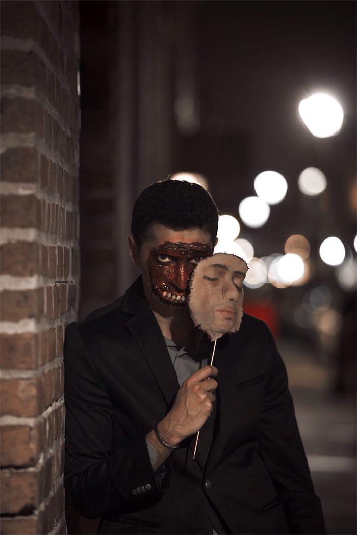 halloween costume ideas peeled off face