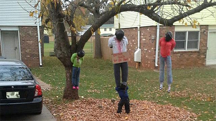 halloween decorations gone too far hanging bodies