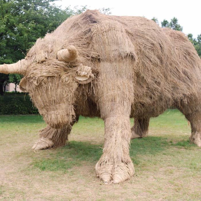 japan wara art festival straw sculptures cow