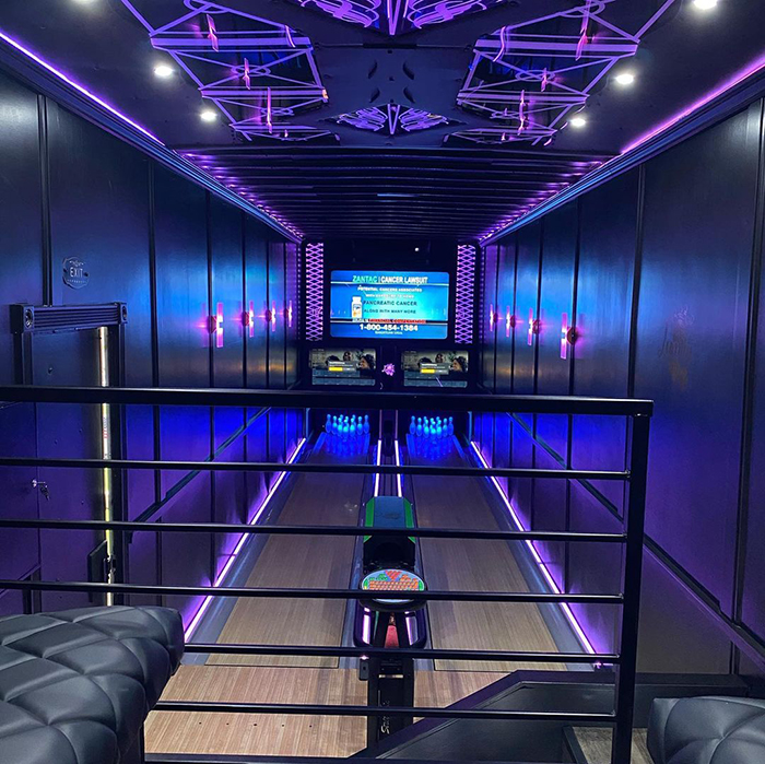 luxury strike bowling playing area