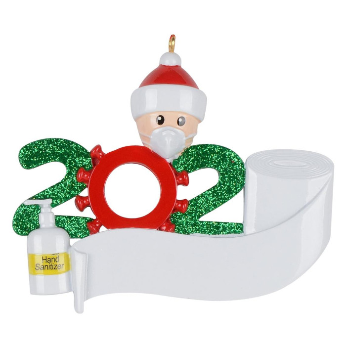 one-person wearing face mask and santa hat with blank toilet paper banner