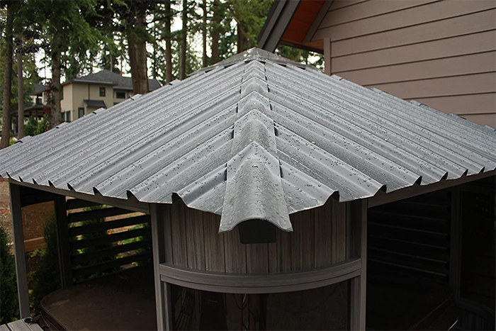 outdoor spa with protective shelter