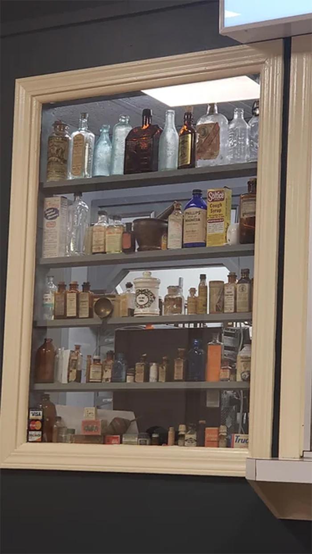 pharmacy displays antique medicines
