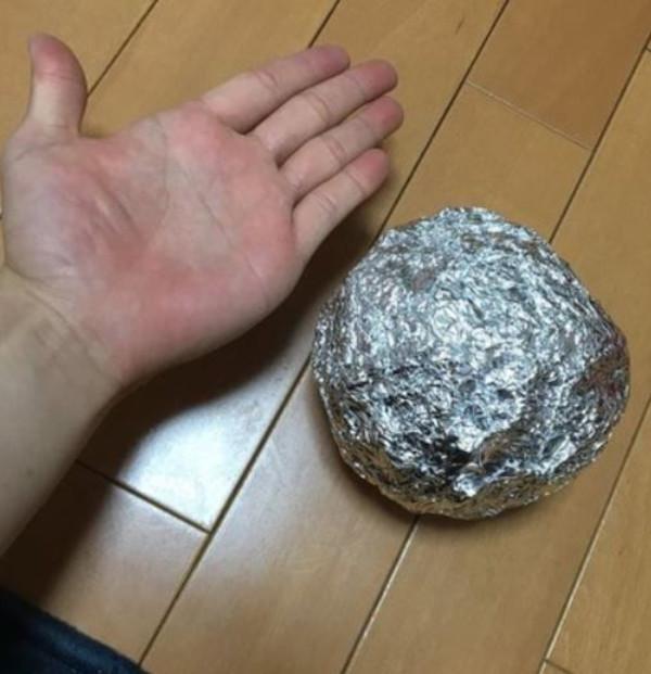 rough wad stage of aluminum foil balls