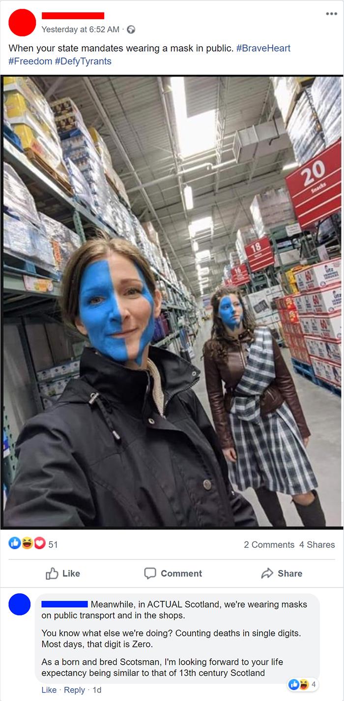savage putdowns anti-maskers scotland