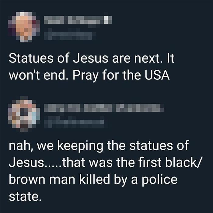 savage putdowns jesus statues are next